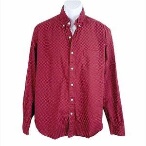 J. Crew Slim Red Polka Dot Long Sleeve Dress Shirt